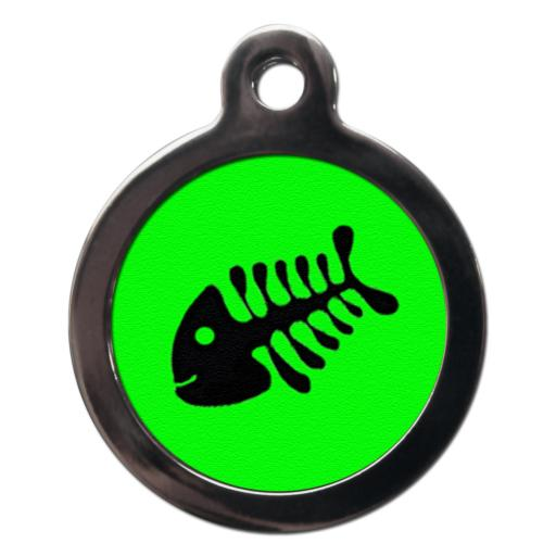 Bright Green Fishbone Cat Tags