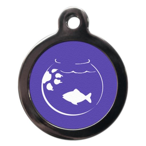 Cartoon Goldfish Bowl Cat Tag
